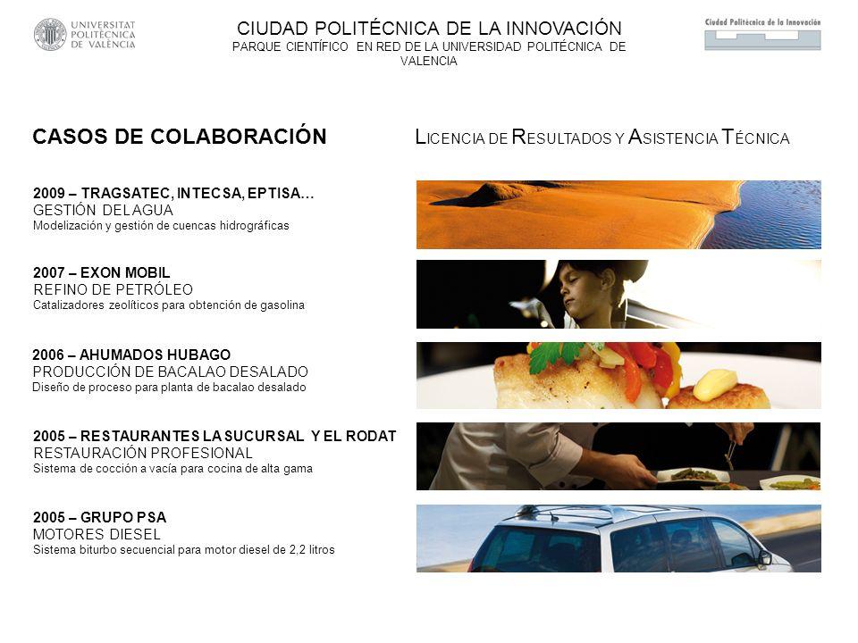 2006 – AHUMADOS HUBAGO PRODUCCIÓN DE BACALAO DESALADO Diseño de proceso para planta de bacalao desalado 2005 – RESTAURANTES LA SUCURSAL Y EL RODAT RESTAURACIÓN PROFESIONAL Sistema de cocción a vacía para cocina de alta gama CIUDAD POLITÉCNICA DE LA INNOVACIÓN PARQUE CIENTÍFICO EN RED DE LA UNIVERSIDAD POLITÉCNICA DE VALENCIA CASOS DE COLABORACIÓN L ICENCIA DE R ESULTADOS Y A SISTENCIA T ÉCNICA 2009 – TRAGSATEC, INTECSA, EPTISA… GESTIÓN DEL AGUA Modelización y gestión de cuencas hidrográficas 2007 – EXON MOBIL REFINO DE PETRÓLEO Catalizadores zeolíticos para obtención de gasolina 2005 – GRUPO PSA MOTORES DIESEL Sistema biturbo secuencial para motor diesel de 2,2 litros