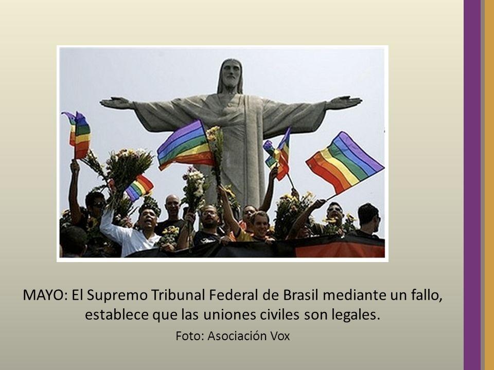 MAYO: El Supremo Tribunal Federal de Brasil mediante un fallo, establece que las uniones civiles son legales. Foto: Asociación Vox