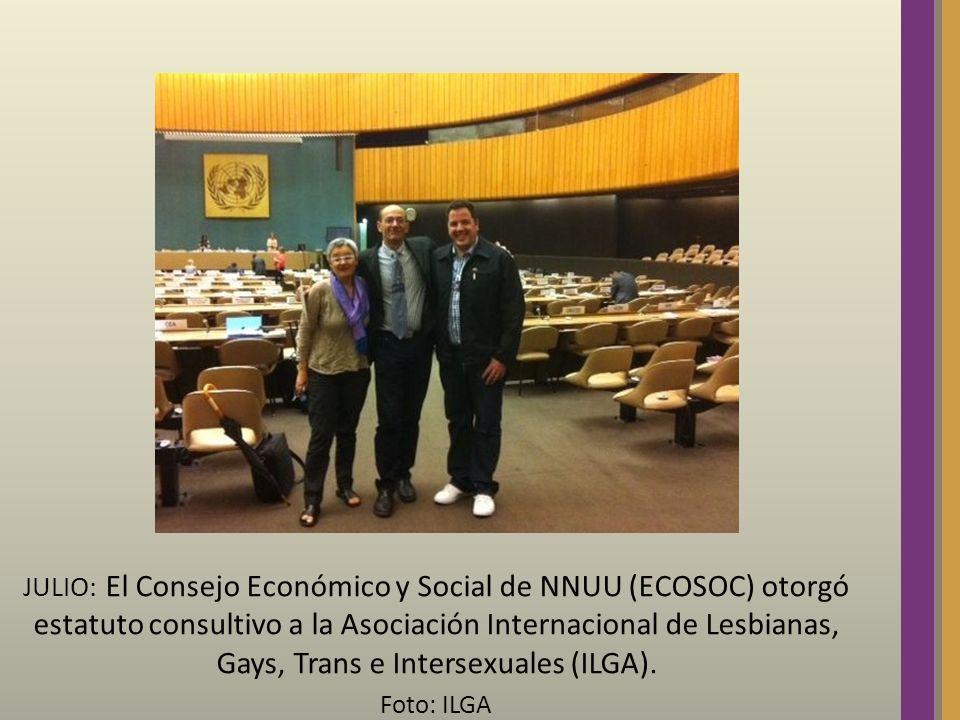 JULIO: El Consejo Económico y Social de NNUU (ECOSOC) otorgó estatuto consultivo a la Asociación Internacional de Lesbianas, Gays, Trans e Intersexual