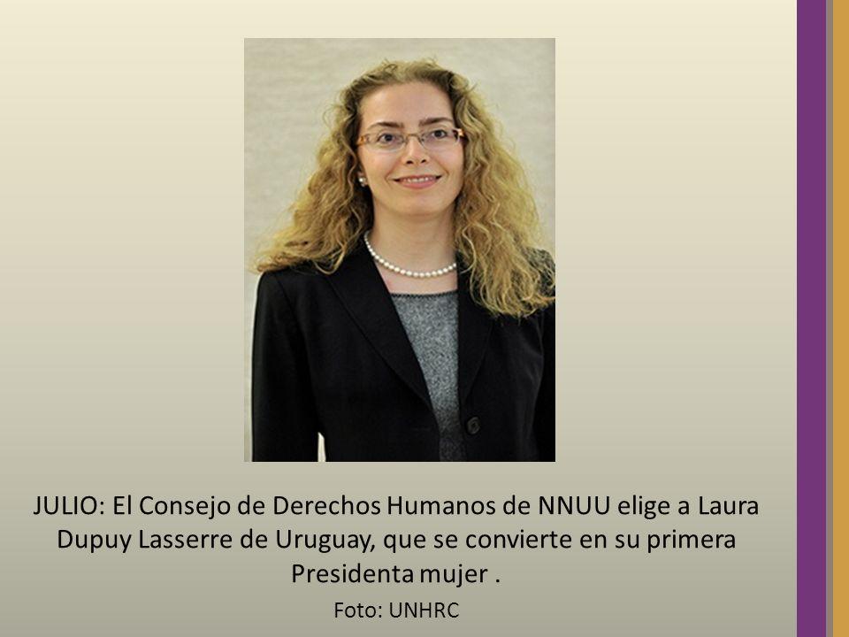 JULIO: El Consejo de Derechos Humanos de NNUU elige a Laura Dupuy Lasserre de Uruguay, que se convierte en su primera Presidenta mujer. Foto: UNHRC