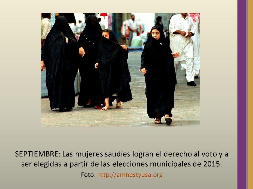 SEPTIEMBRE: Las mujeres saudíes logran el derecho al voto y a ser elegidas a partir de las elecciones municipales de 2015. Foto: http://amnestyusa.org