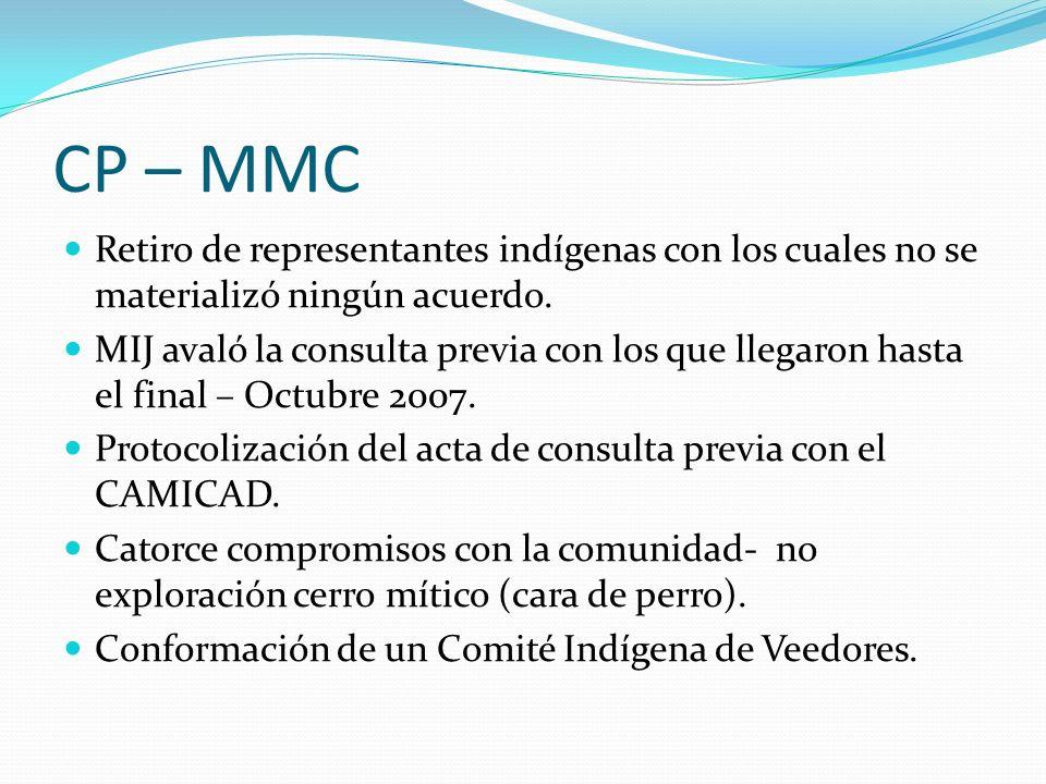 CP – MMC Retiro de representantes indígenas con los cuales no se materializó ningún acuerdo. MIJ avaló la consulta previa con los que llegaron hasta e