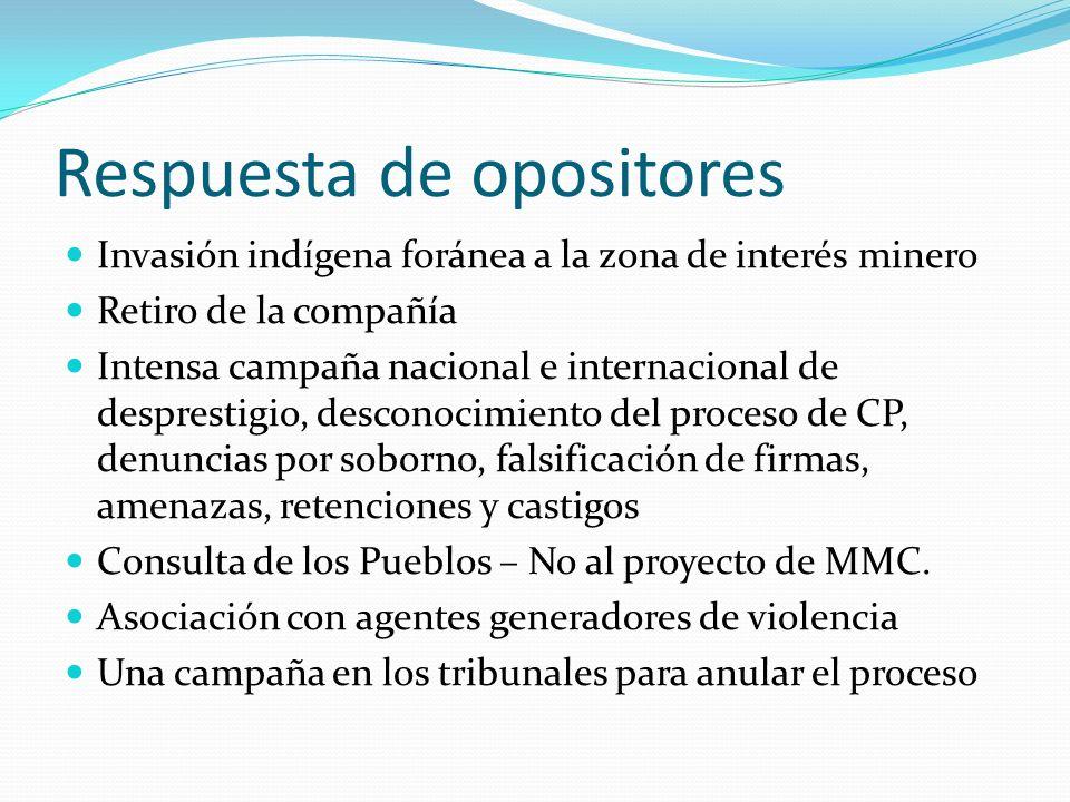 Respuesta de opositores Invasión indígena foránea a la zona de interés minero Retiro de la compañía Intensa campaña nacional e internacional de despre