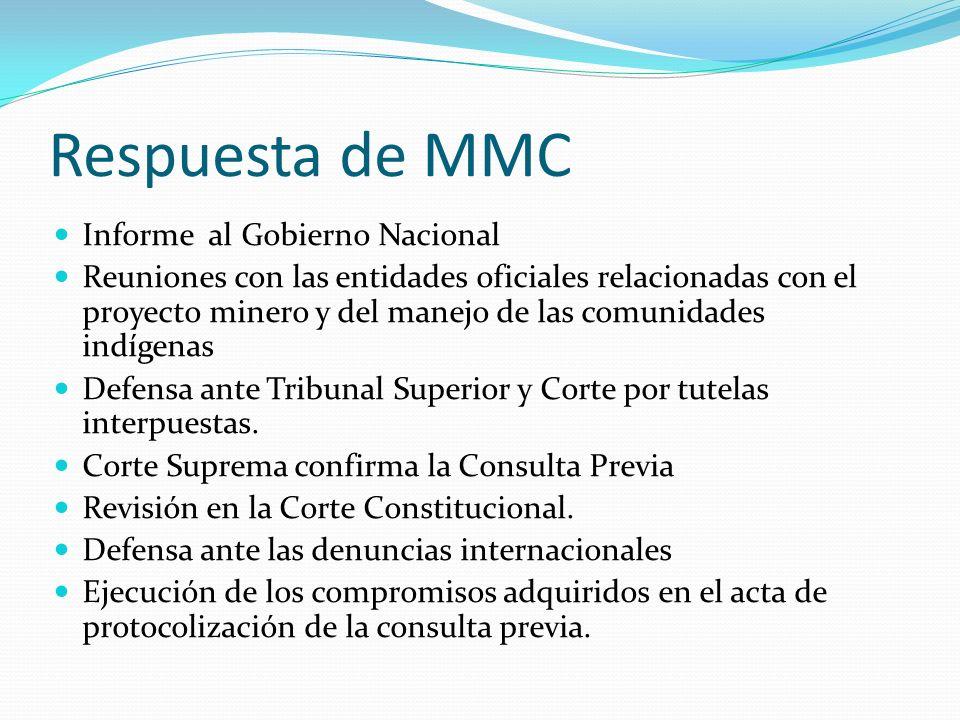 Respuesta de MMC Informe al Gobierno Nacional Reuniones con las entidades oficiales relacionadas con el proyecto minero y del manejo de las comunidade