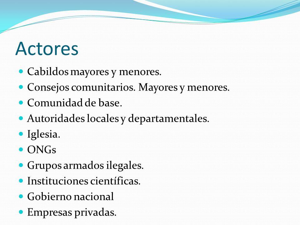 Actores Cabildos mayores y menores.Consejos comunitarios.