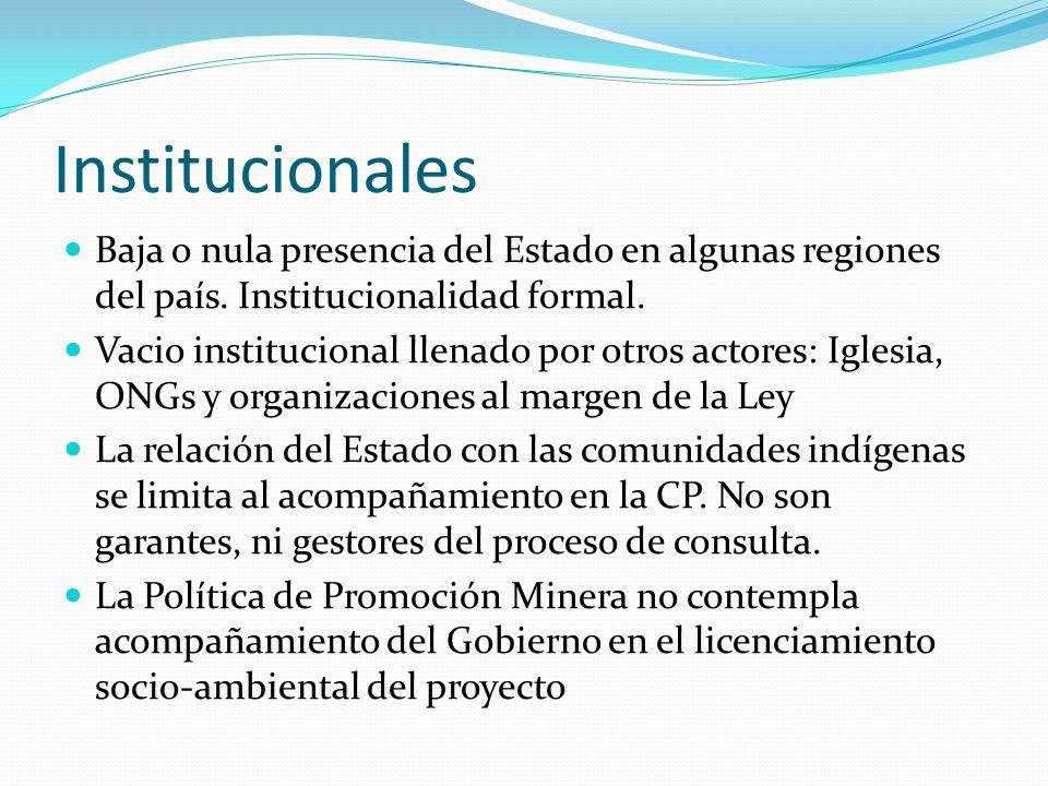 Institucionales Baja o nula presencia del Estado en algunas regiones del país. Institucionalidad formal. Vacio institucional llenado por otros actores