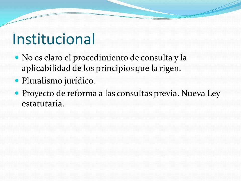 Institucional No es claro el procedimiento de consulta y la aplicabilidad de los principios que la rigen. Pluralismo jurídico. Proyecto de reforma a l