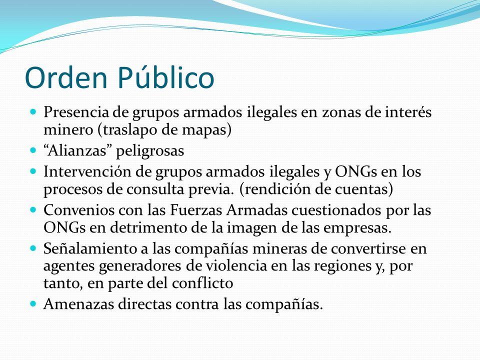 Orden Público Presencia de grupos armados ilegales en zonas de interés minero (traslapo de mapas) Alianzas peligrosas Intervención de grupos armados ilegales y ONGs en los procesos de consulta previa.