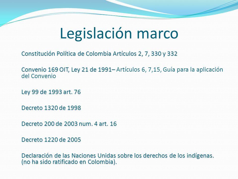 Legislación marco Constitución Política de Colombia Artículos 2, 7, 330 y 332 Convenio 169 OIT, Ley 21 de 1991– Convenio 169 OIT, Ley 21 de 1991– Artí