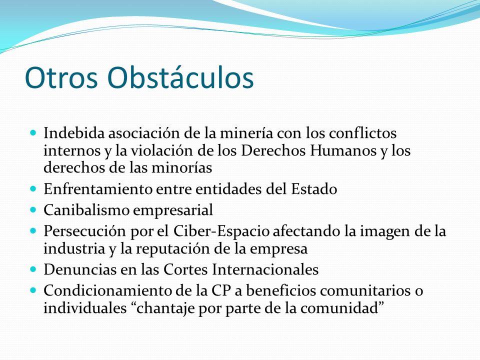 Otros Obstáculos Indebida asociación de la minería con los conflictos internos y la violación de los Derechos Humanos y los derechos de las minorías E