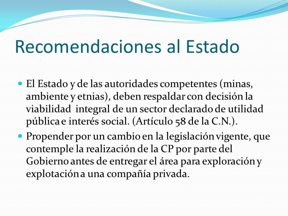 Recomendaciones al Estado El Estado y de las autoridades competentes (minas, ambiente y etnias), deben respaldar con decisión la viabilidad integral de un sector declarado de utilidad pública e interés social.