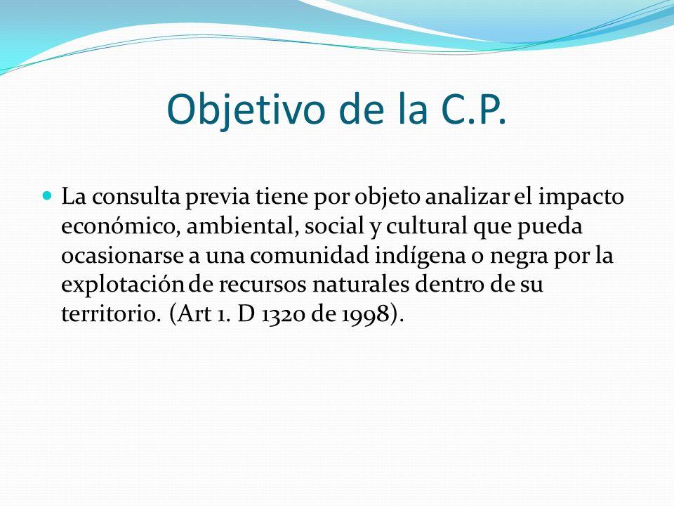 Objetivo de la C.P. La consulta previa tiene por objeto analizar el impacto económico, ambiental, social y cultural que pueda ocasionarse a una comuni