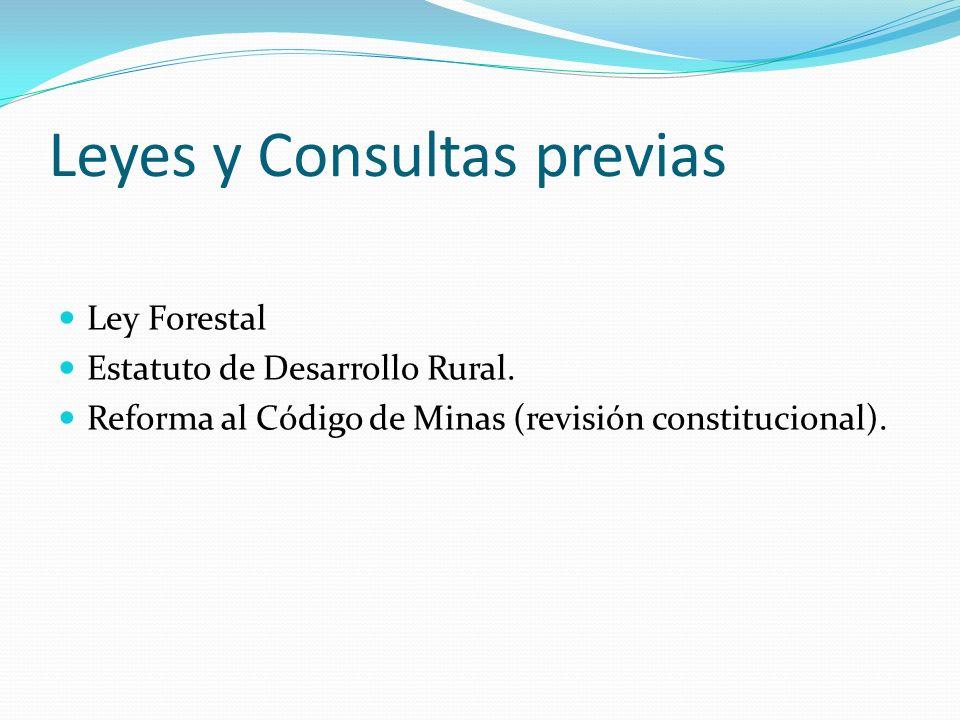 Leyes y Consultas previas Ley Forestal Estatuto de Desarrollo Rural. Reforma al Código de Minas (revisión constitucional).