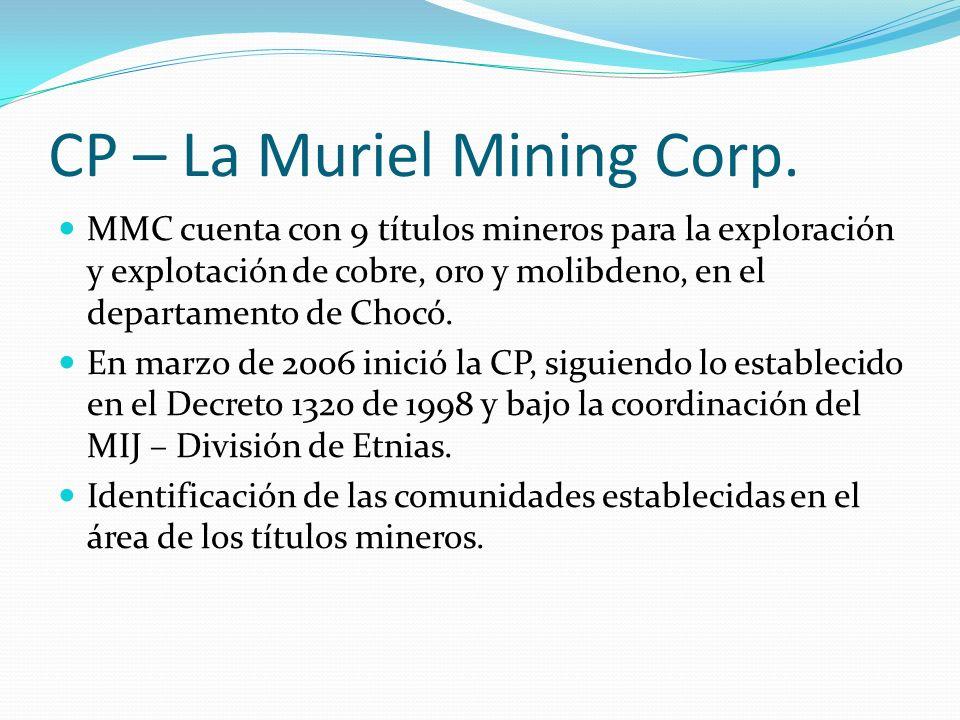 CP – La Muriel Mining Corp. MMC cuenta con 9 títulos mineros para la exploración y explotación de cobre, oro y molibdeno, en el departamento de Chocó.