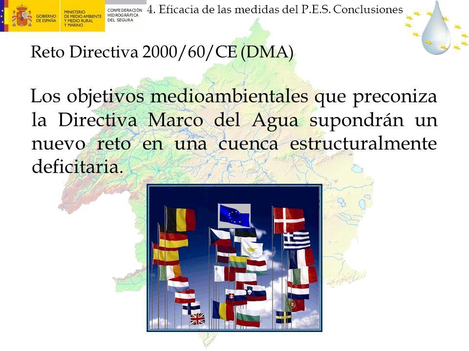 Reto Directiva 2000/60/CE (DMA) Los objetivos medioambientales que preconiza la Directiva Marco del Agua supondrán un nuevo reto en una cuenca estruct