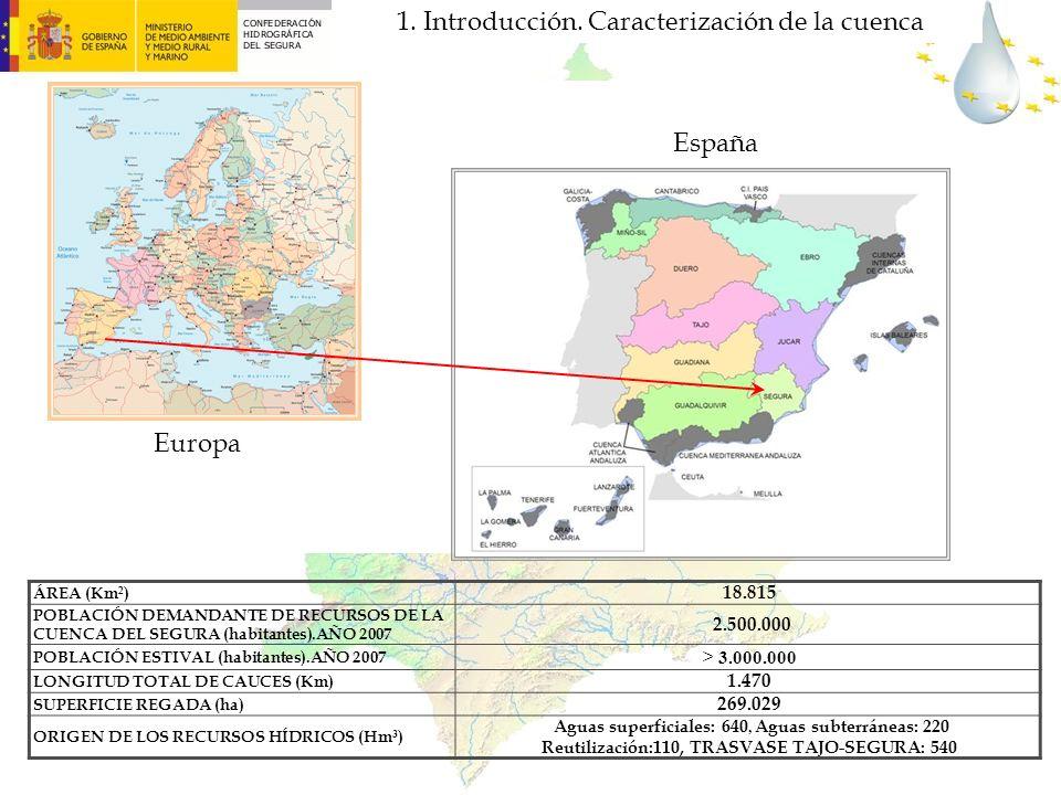 ÁREA (Km 2 ) 18.815 POBLACIÓN DEMANDANTE DE RECURSOS DE LA CUENCA DEL SEGURA (habitantes).AÑO 2007 2.500.000 POBLACIÓN ESTIVAL (habitantes).AÑO 2007 >