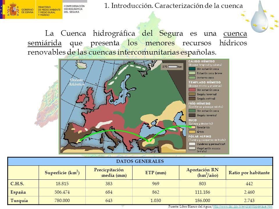 La Cuenca hidrográfica del Segura es una cuenca semiárida que presenta los menores recursos hídricos renovables de las cuencas intercomunitarias españ