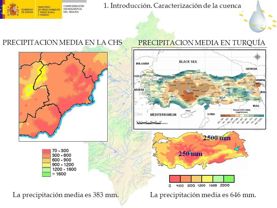 PRECIPITACION MEDIA EN TURQUÍA PRECIPITACION MEDIA EN LA CHS La precipitación media es 383 mm.La precipitación media es 646 mm. 1. Introducción. Carac