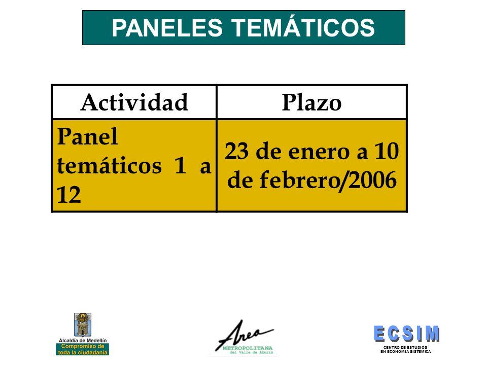 CENTRO DE ESTUDIOS EN ECONOMÍA SISTÉMICA PANELES TEMÁTICOS ActividadPlazo Panel temáticos 1 a 12 23 de enero a 10 de febrero/2006