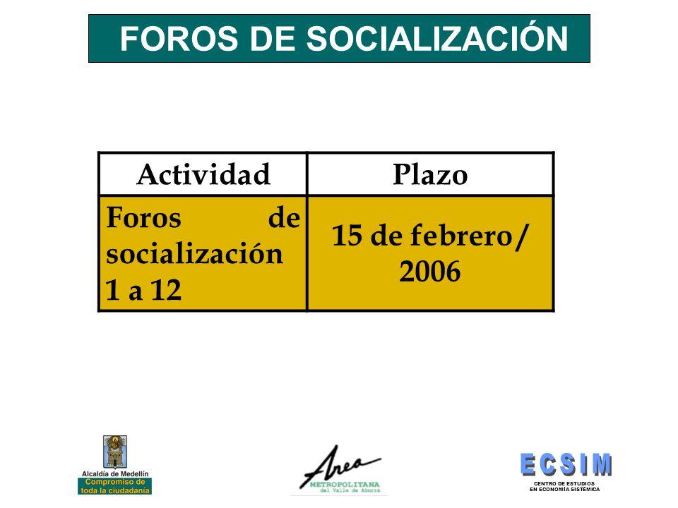 CENTRO DE ESTUDIOS EN ECONOMÍA SISTÉMICA FOROS DE SOCIALIZACIÓN ActividadPlazo Foros de socialización 1 a 12 15 de febrero / 2006