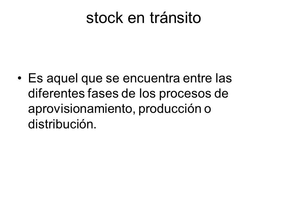 stock en tránsito Es aquel que se encuentra entre las diferentes fases de los procesos de aprovisionamiento, producción o distribución.