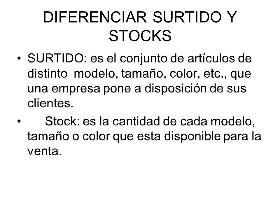 DIFERENCIAR SURTIDO Y STOCKS SURTIDO: es el conjunto de artículos de distinto modelo, tamaño, color, etc., que una empresa pone a disposición de sus c