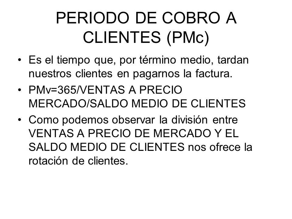 PERIODO DE COBRO A CLIENTES (PMc) Es el tiempo que, por término medio, tardan nuestros clientes en pagarnos la factura. PMv=365/VENTAS A PRECIO MERCAD