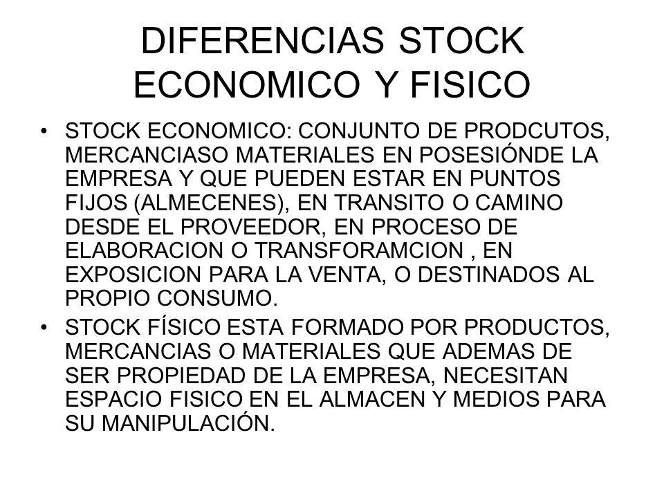 DIFERENCIAS STOCK ECONOMICO Y FISICO STOCK ECONOMICO: CONJUNTO DE PRODCUTOS, MERCANCIASO MATERIALES EN POSESIÓNDE LA EMPRESA Y QUE PUEDEN ESTAR EN PUN