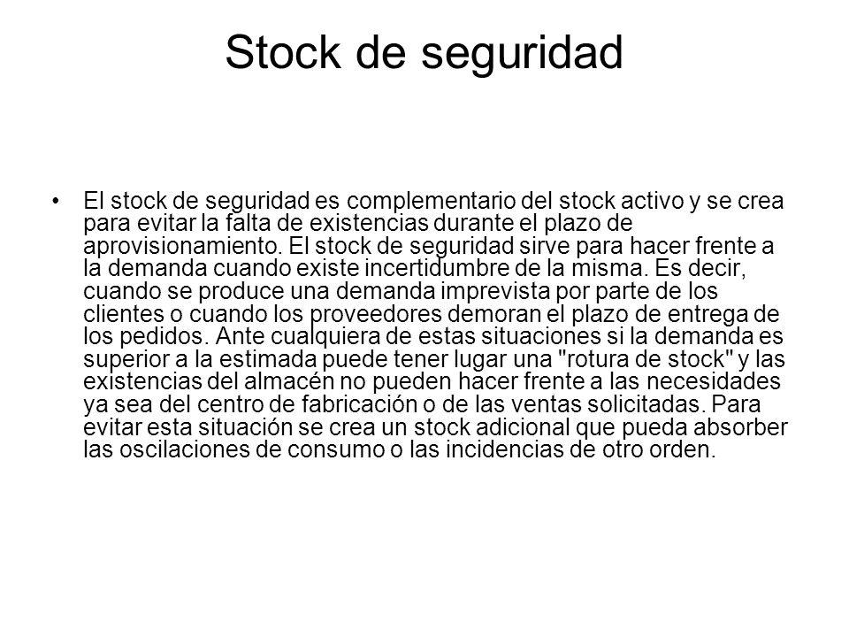 Stock de seguridad El stock de seguridad es complementario del stock activo y se crea para evitar la falta de existencias durante el plazo de aprovisi