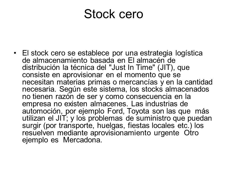Stock cero El stock cero se establece por una estrategia logística de almacenamiento basada en El almacén de distribución la técnica del