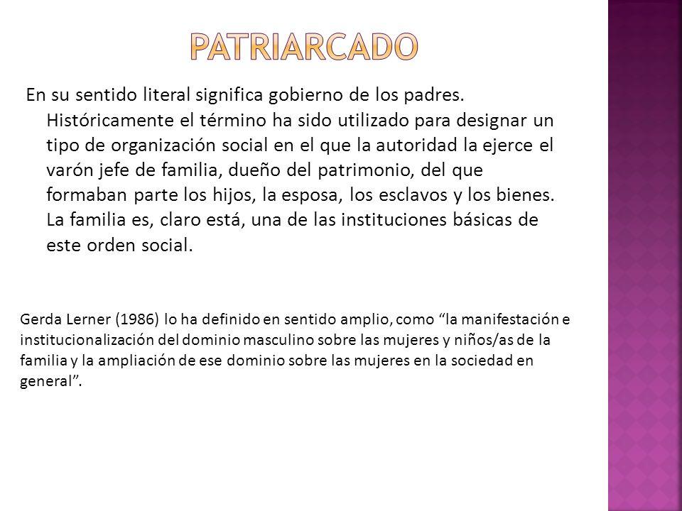 En su sentido literal significa gobierno de los padres. Históricamente el término ha sido utilizado para designar un tipo de organización social en el