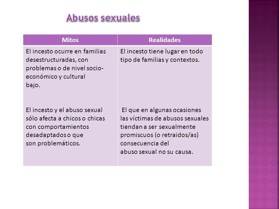 MitosRealidades El incesto ocurre en familias desestructuradas, con problemas o de nivel socio- económico y cultural bajo. El incesto y el abuso sexua