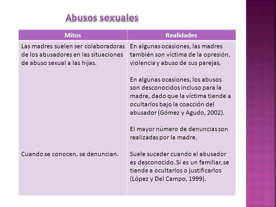 MitosRealidades Las madres suelen ser colaboradoras de los abusadores en las situaciones de abuso sexual a las hijas. Cuando se conocen, se denuncian.