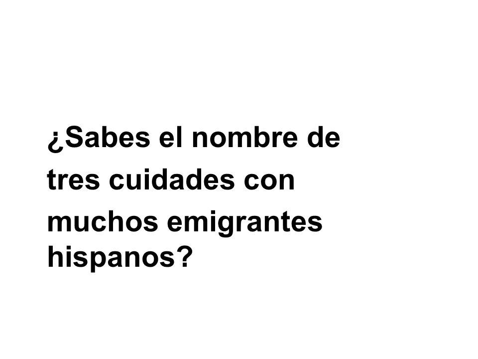 ¿Sabes el nombre de tres cuidades con muchos emigrantes hispanos?