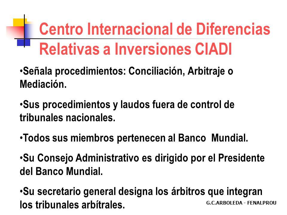 G.C.ARBOLEDA - FENALPROU Instituciones para Resolución de Conflictos en el Mercado 1.Corte Internacional de Arbitraje de la Cámara de Comercio Interna