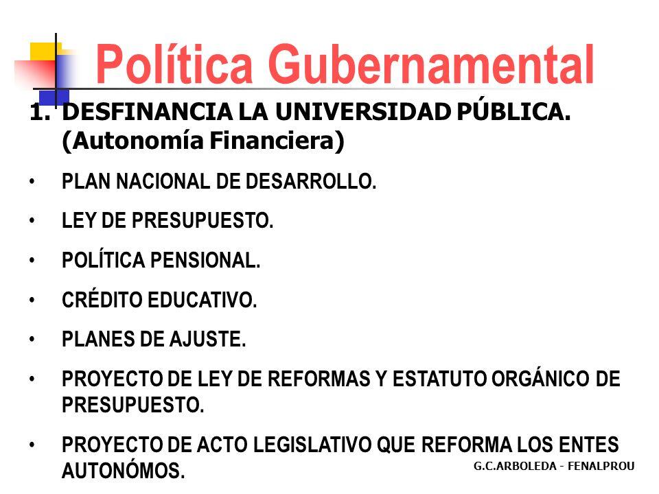 G.C.ARBOLEDA - FENALPROU Política Gubernamental ADECUA AL PAIS PARA LA ENTRADA EN VIGENCIA DEL ALCA O DEL TLC