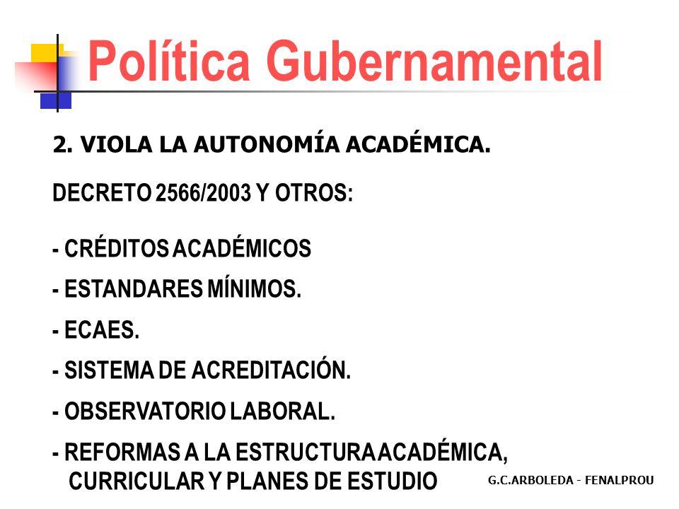 G.C.ARBOLEDA - FENALPROU Política Gubernamental 1.DESFINANCIA LA UNIVERSIDAD PÚBLICA. (Autonomía Financiera) PLAN NACIONAL DE DESARROLLO. LEY DE PRESU