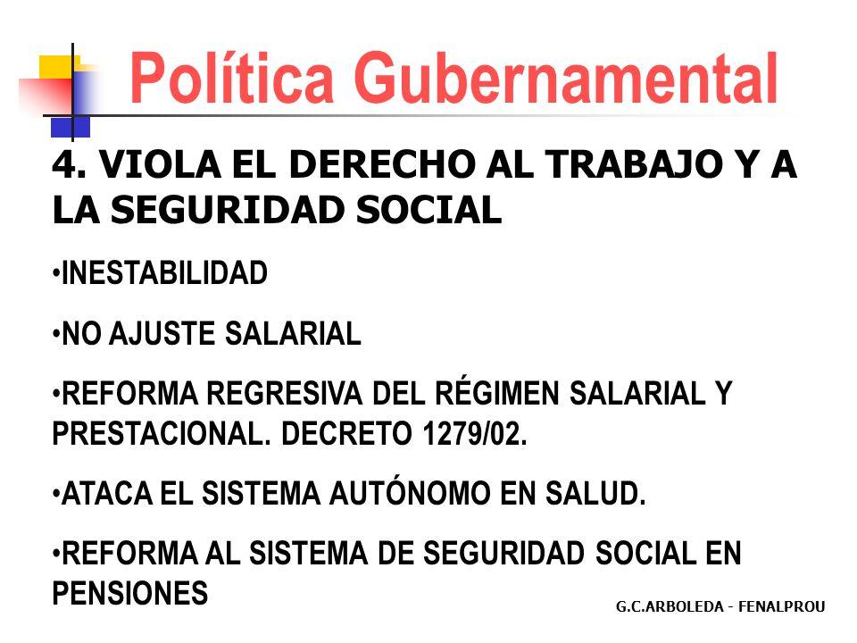 G.C.ARBOLEDA - FENALPROU 3. VIOLA AUTONOMÍA ADMINISTRATIVA REDUCE PARTICIPACIÓN DEMOCRÁTICA IMPONE DESIGNACIÓN DE DIRECTIVAS ORIENTA REFORMAS ESTATUTA