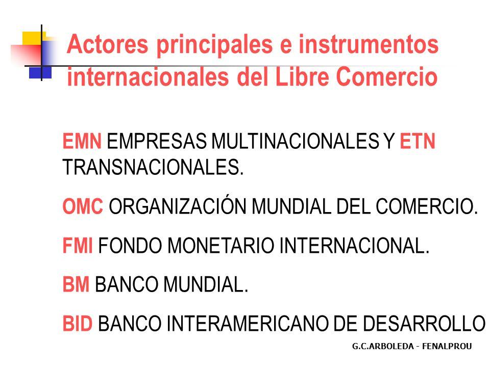 G.C.ARBOLEDA - FENALPROU Actores principales e instrumentos internacionales del Libre Comercio EMN EMPRESAS MULTINACIONALES Y ETN TRANSNACIONALES.