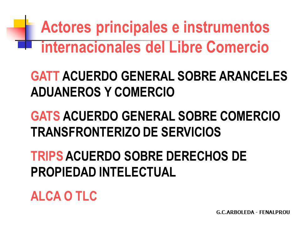 G.C.ARBOLEDA - FENALPROU Actores principales e instrumentos internacionales del Libre Comercio GATT ACUERDO GENERAL SOBRE ARANCELES ADUANEROS Y COMERCIO GATS ACUERDO GENERAL SOBRE COMERCIO TRANSFRONTERIZO DE SERVICIOS TRIPS ACUERDO SOBRE DERECHOS DE PROPIEDAD INTELECTUAL ALCA O TLC