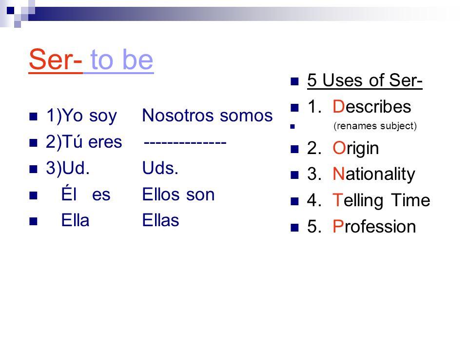 Ser- to be 1)Yo soy Nosotros somos 2)Tú eres -------------- 3)Ud.