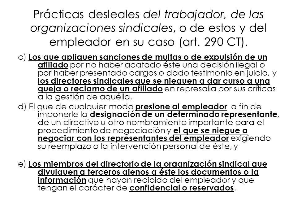 Prácticas desleales del trabajador, de las organizaciones sindicales, o de estos y del empleador en su caso (art. 290 CT). c) Los que apliquen sancion