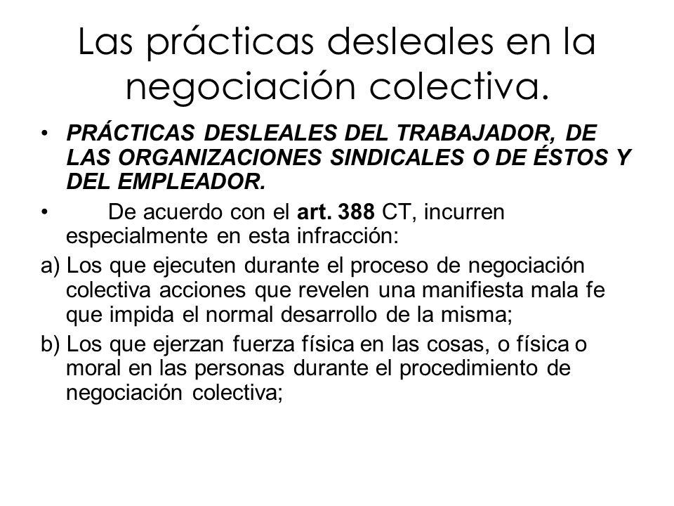 Las prácticas desleales en la negociación colectiva. PRÁCTICAS DESLEALES DEL TRABAJADOR, DE LAS ORGANIZACIONES SINDICALES O DE ÉSTOS Y DEL EMPLEADOR.