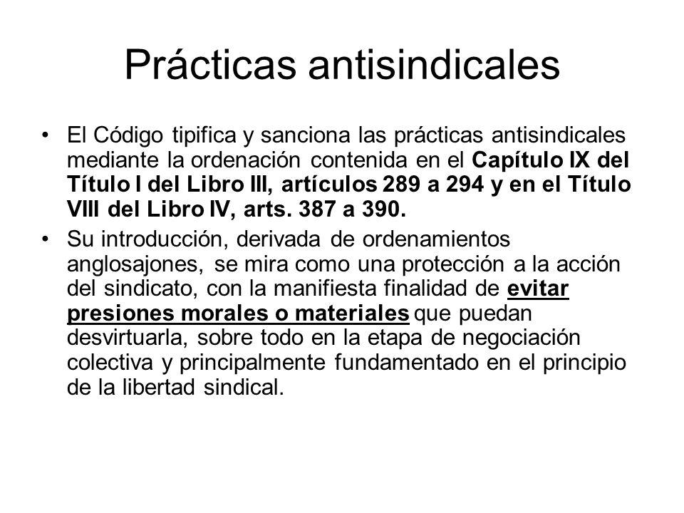 Prácticas antisindicales El Código tipifica y sanciona las prácticas antisindicales mediante la ordenación contenida en el Capítulo IX del Título I de