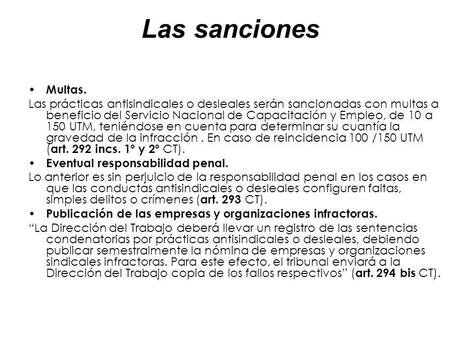 Las sanciones Multas. Las prácticas antisindicales o desleales serán sancionadas con multas a beneficio del Servicio Nacional de Capacitación y Empleo