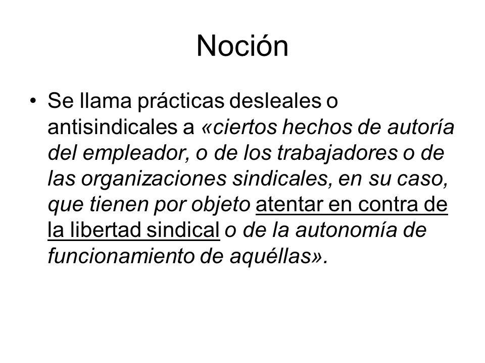 Noción Se llama prácticas desleales o antisindicales a «ciertos hechos de autoría del empleador, o de los trabajadores o de las organizaciones sindica