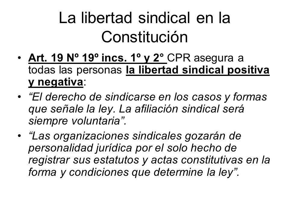La libertad sindical en la Constitución Art. 19 Nº 19º incs. 1º y 2° CPR asegura a todas las personas la libertad sindical positiva y negativa: El der