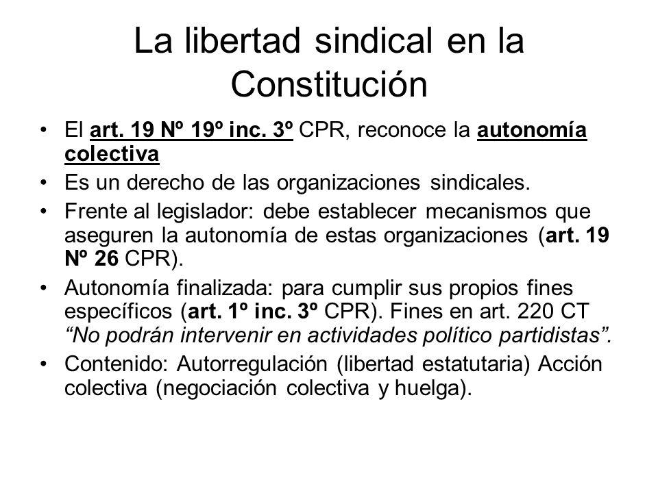 La libertad sindical en la Constitución El art. 19 Nº 19º inc. 3º CPR, reconoce la autonomía colectiva Es un derecho de las organizaciones sindicales.
