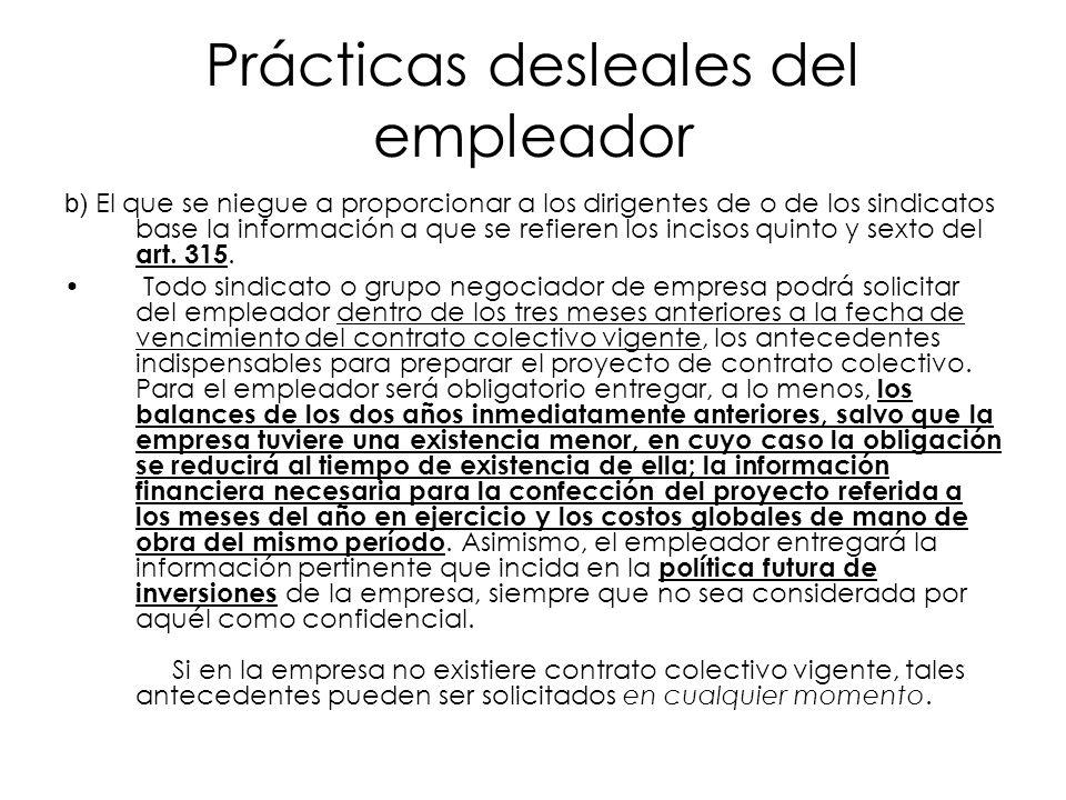 Prácticas desleales del empleador b) El que se niegue a proporcionar a los dirigentes de o de los sindicatos base la información a que se refieren los