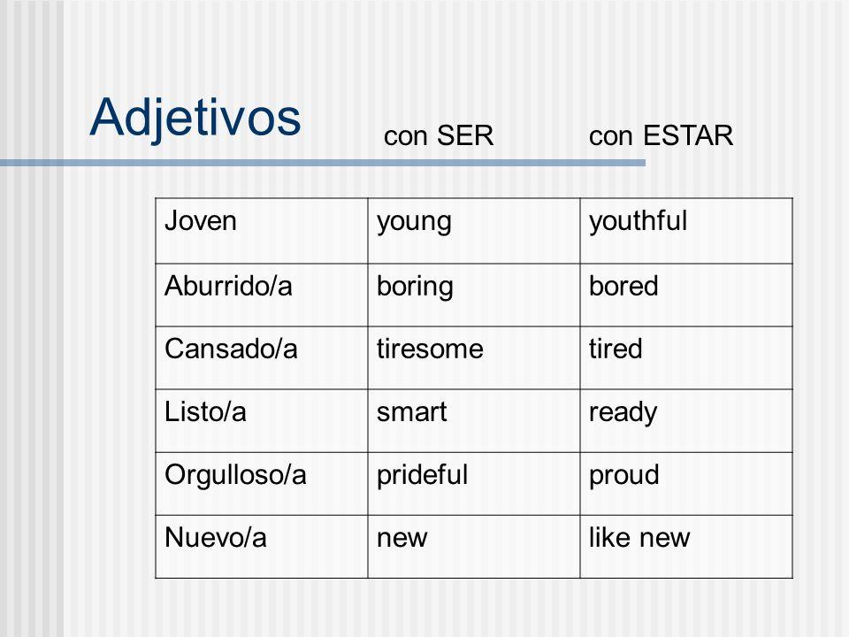 Adjetivos que cambian su significado cuando se usan con SER o ESTAR.